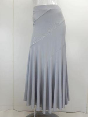 《高品質》【sk723】社交ダンスロングスカート 斜めマーメイド グレー