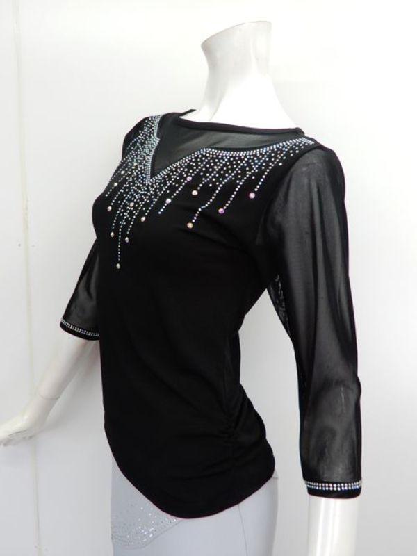 《高品質》【c273】社交ダンストップス すだれストーン飾り ブラック M