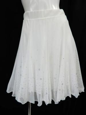 高品質【sk724】社交ダンスラテンスカート シースルー裏付き ホワイト