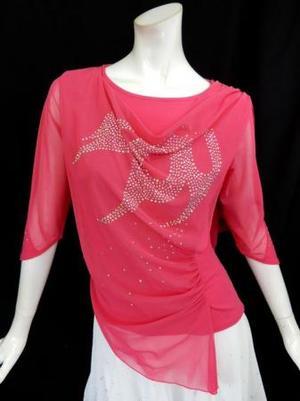 《高品質》【c274】社交ダンストップス ネット飾り ピンク