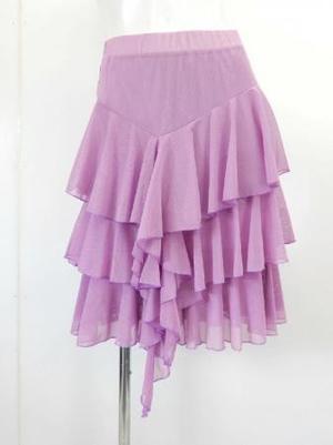 《特価》高品質【sk726】社交ダンスラテンスカート シースルー素材段々フリル ラベンダー