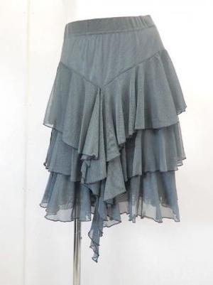 《特価》高品質【sk727】社交ダンスラテンスカート シースルー素材段々フリル グレー