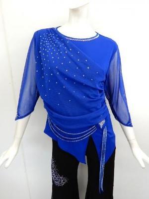 セール《高品質》【c279】社交ダンストップス 斜めネット ブルー XL