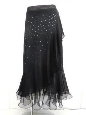 セール《高品質》【sk729】社交ダンスロングスカート 斜めプリーツフリルストーン ブラック