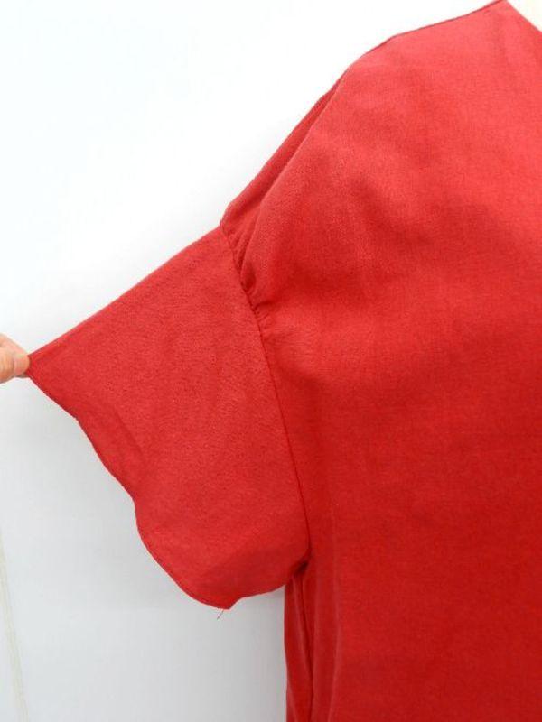 《韓国製》【f022】綿麻50% ダボっとワンピース 袖フレンチ レッド L~LL