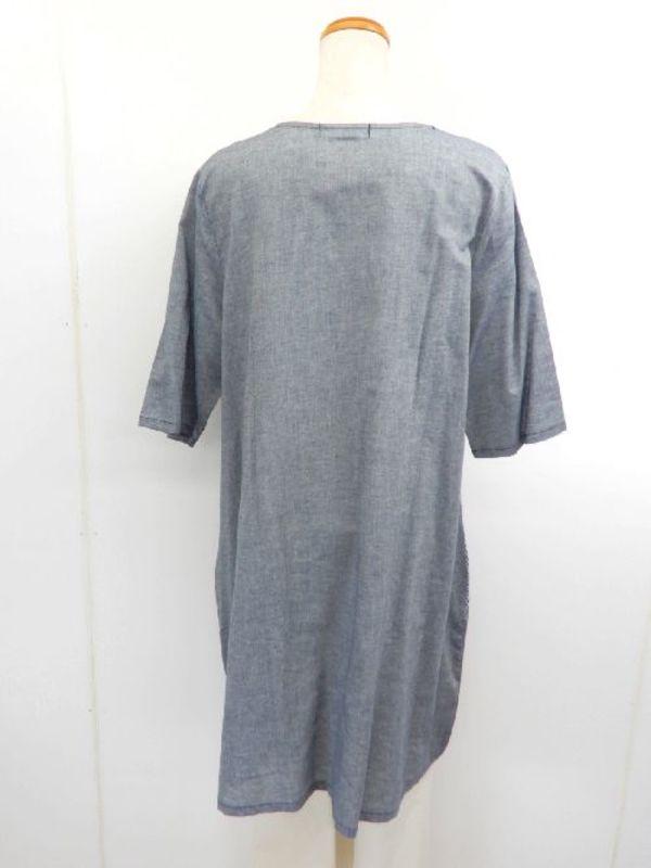 《韓国製》【f023】綿100% ダボっとワンピース 裾バルーン ドットネイビー M~L