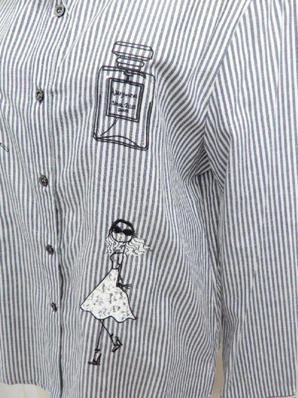 【f025】長袖 綿65% ストライプ お洒落刺繍 ネイビー M
