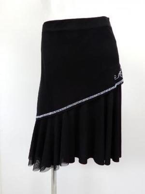 《特価》高品質【sk730】社交ダンスラテンスカート 重ねシースルーストーン ブラック