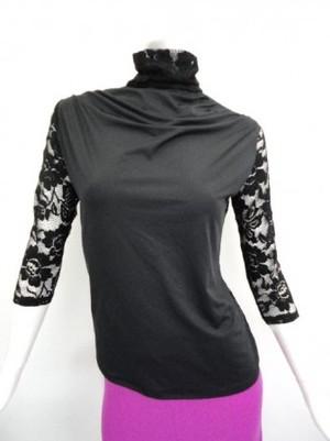 値下げ《高品質》【tt306】社交ダンストップス ハイネック 襟袖レース ブラック
