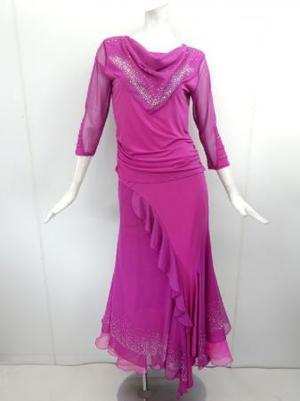 高品質【su435】社交ダンス上下スーツ ドレープネックロングスカート ピンク