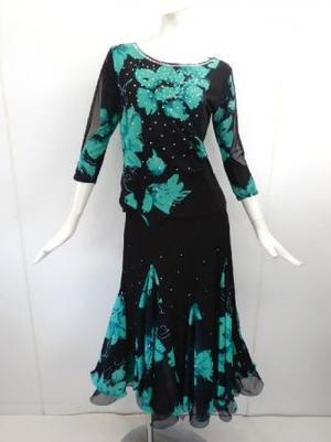 高品質【su436】社交ダンス上下スーツ 花柄重ねロングスカート ブラックグリーン