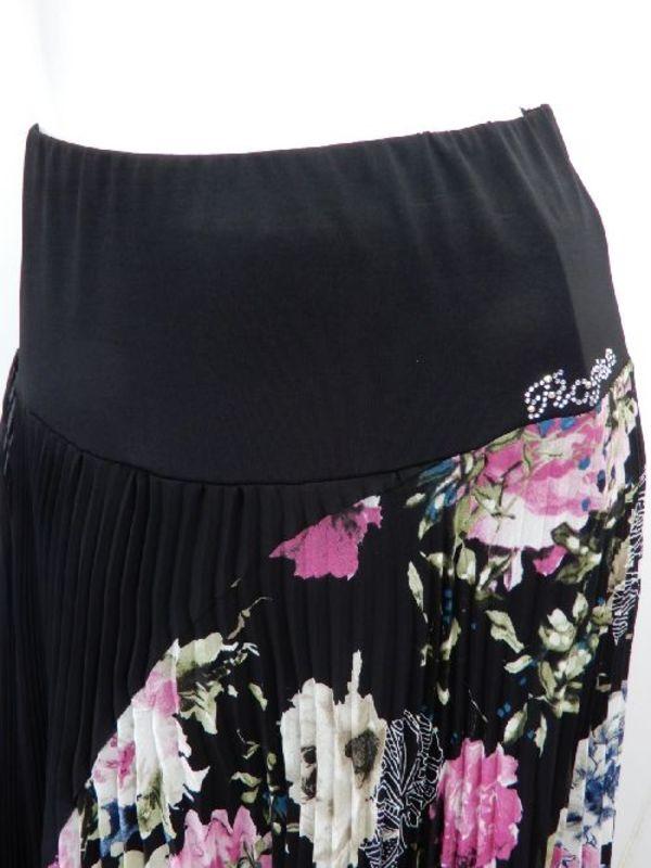 高品質【su437】社交ダンス上下スーツ プリーツケープ風 ロングスカート ブラック花柄