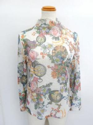【f027】長袖 綿100% Tシャツ ボトルネック アンティーク柄 ホワイト