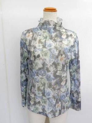【f028】長袖 綿100% Tシャツ ボトルネック バラ柄 グレー