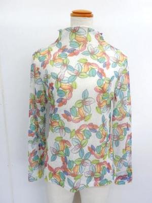 【f029】長袖 綿100% Tシャツ ボトルネック カラフル花柄 ホワイト
