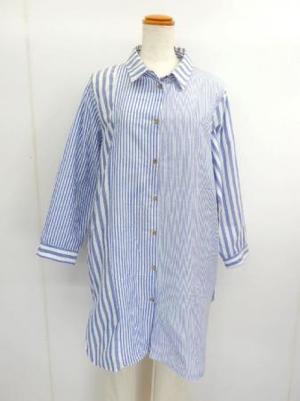 【f031】長袖 綿20% ロングブラウス 3ボーダー切替 ブルー