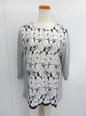 【f038】七分袖 綿100% Tシャツ 花刺繍切替 グレー M~L