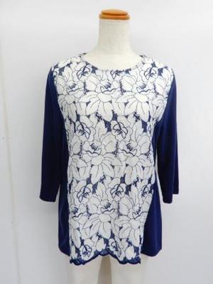【f039】七分袖 綿100% Tシャツ 花刺繍切替 ネイビー M~L