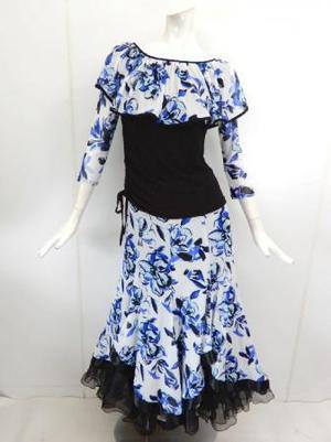 【su465】社交ダンス上下スーツ ヒラヒラ襟T&重ね着風スカート ブルーホワイト
