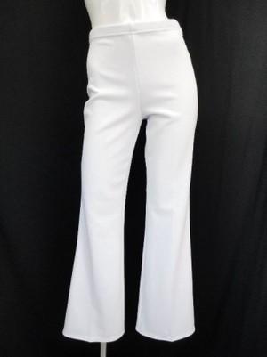 《高品質》【p463】ダンスパンツ ブーツカット 普通丈 厚地 ホワイト Lサイズ
