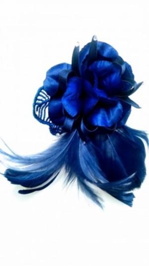 《新入荷》【ac147】コサージュ 羽&刺繍 ロイヤルブルー