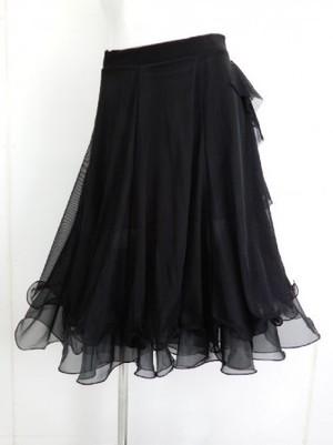 【sk699】社交ダンスミディアムスカート ネット裏地裾オーガン風 ブラック