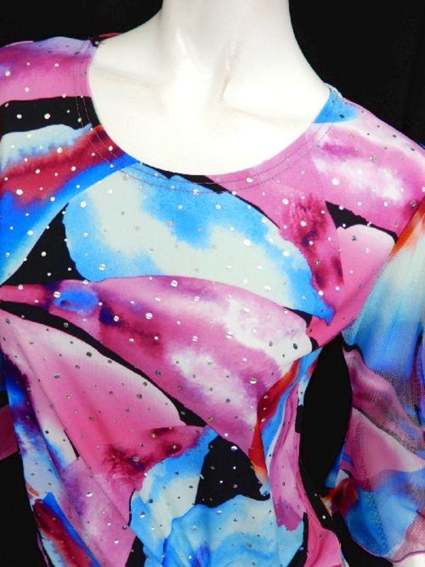【c079】社交ダンストップス ウエスト絞り ゆったりめ MIXカラー柄 ピンク青