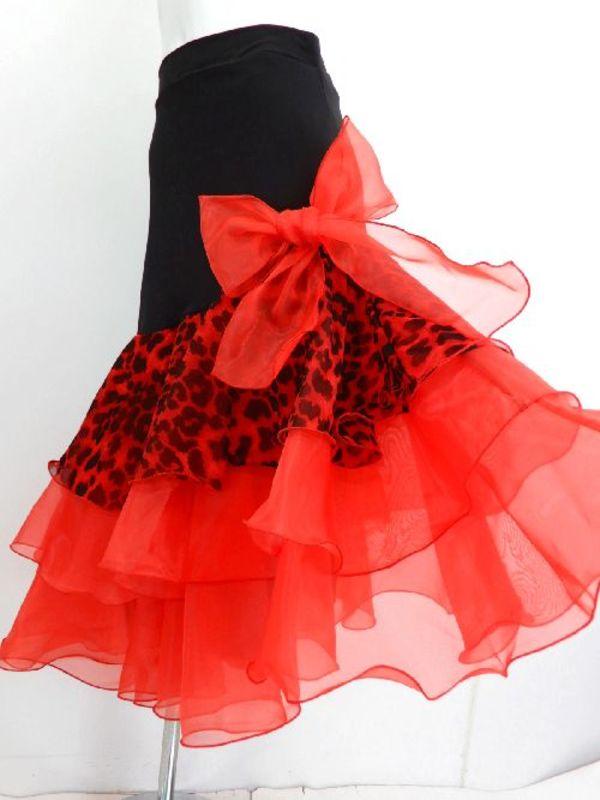 【sk623】社交ダンスラテンミディアムスカート ヒップスリム リボン付き裾段々オーガン レッド