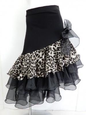 【sk625】社交ダンスラテンミディアムスカート ヒップスリム リボン付き裾段々オーガン ブラウン