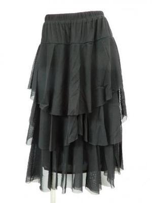 【sk760】社交ダンスミディアムスカート 段々ひらひらフリル ブラック