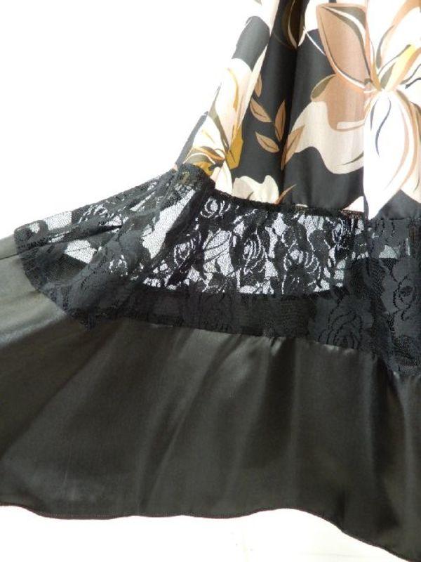 【su441】社交ダンス上下スーツ シンプルT&切替レーススカート 茶花柄