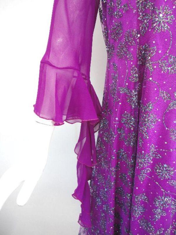 《ステージ衣装》【wp614】ロングワンピース ラメお花 ピンクパープル