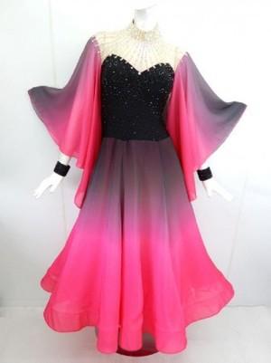 最終値下げ【wp685】社交ダンスドレス正装モダン グラデーション 黒ピンク Mサイズ