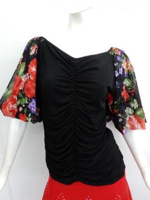 【c352】ダンストップス 袖バルーン 真ん中シャーリング ブラック花柄