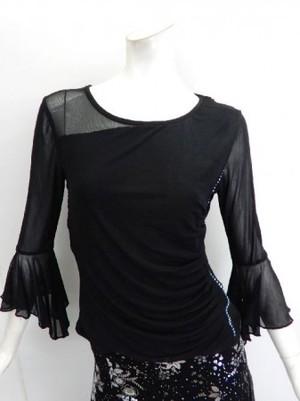 【c081】社交ダンス衣装 前シンプル後ドレープ 裏付き ブラック
