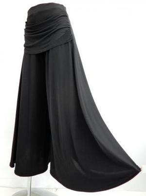 【p532】社交ダンスパンツ ワイドドレープ付 後ろ円型巻き ブラック