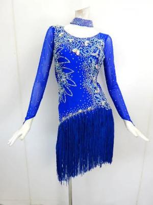 新作【La018】社交ダンスドレス 正装ラテン フリンジ ブルー M
