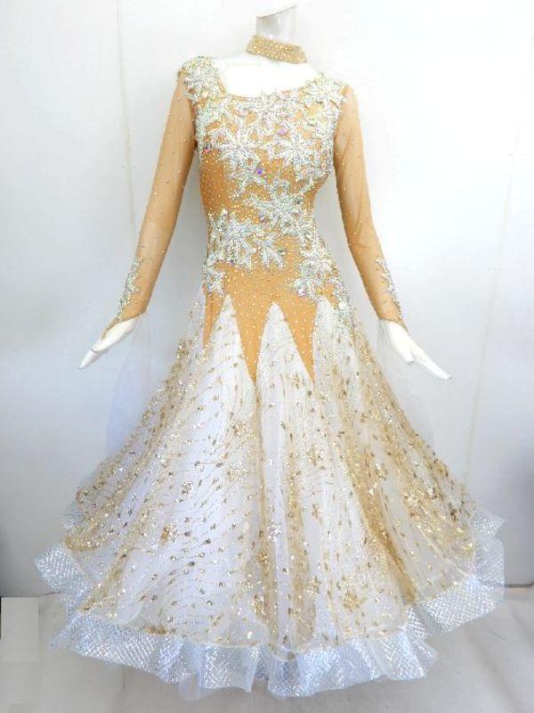 《新入荷》【Md017】社交ダンスドレス正装モダン ベージュゴールド Lサイズ