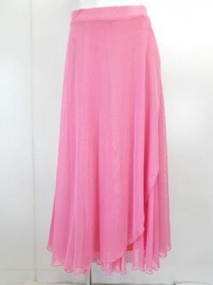 セール《高品質》【sk734】社交ダンスロングスカート 8枚はぎ前フリル ピンク