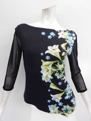 【c096】社交ダンストップス ボートネック裾V ゆり花柄 黒白ブルー