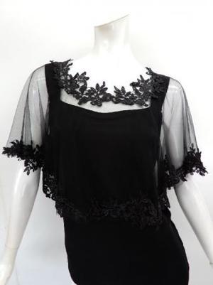 【c292】社交ダンストップス ケープ ポンチョ 刺繍飾り ブラック