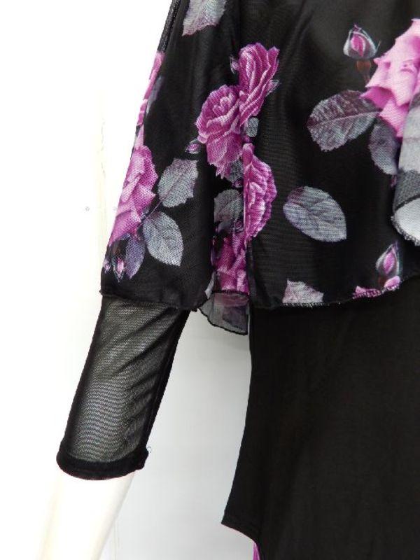 【su468】社交ダンス上下スーツ 柄フリル&8枚はぎスカート パープル柄