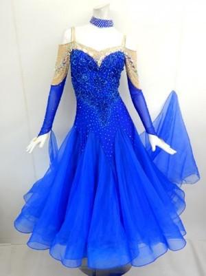 《新入荷》【wp690】社交ダンスドレス正装モダン オフショルロイヤルブルー M