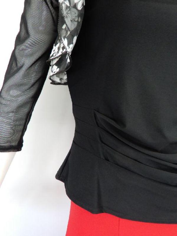 【c294】社交ダンストップス 花柄 襟フリル ブラックホワイト