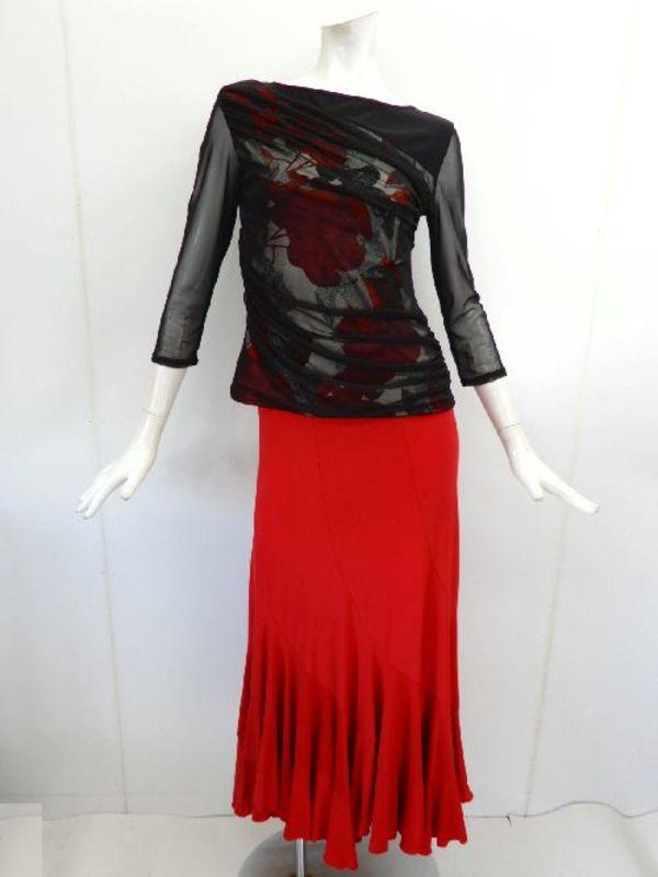 《特価》【c295】社交ダンス衣装 パワーネット重ね×花柄 黒赤