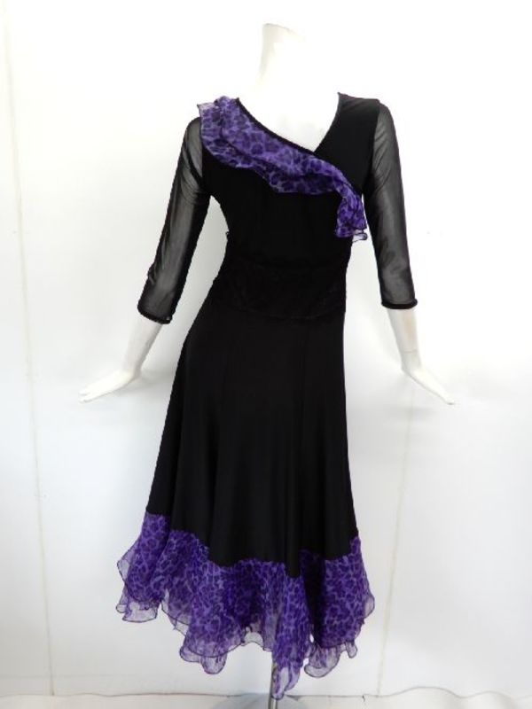 ★新入荷★【wp711】ロングワンピース アシメオーガンフリル 黒紫ヒョウ