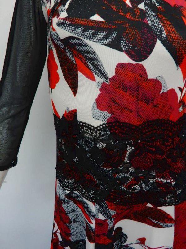★新入荷★【wp714】ロングワンピース 花柄オーガンフリル レッド