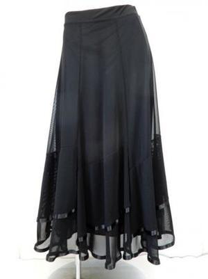 ☆新入荷商品☆【sk763】ロングスカート 6枚はぎ裾フリルテープ ブラック