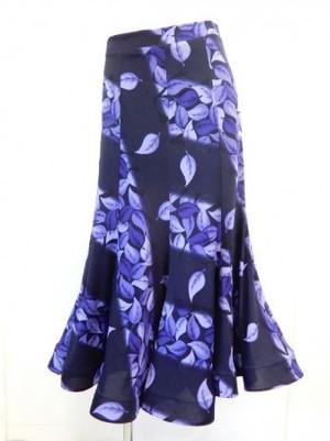 値下げ《高品質》【sk652】社交ダンスロングスカート 8枚はぎ 斜め葉柄 パープル 5500円↓