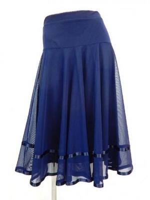 【sk765】社交ダンスミディアムロングスカート 裾テープ 裏付き ネイビー